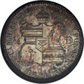 Coins of Hawaii: , 1883 25C Hawaii Quarter MS66 NGC. The toning on this wholly naturalKalakaua quarter consists of mottled russet, pale viole...