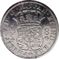 """Mexico: , Mexico: Philip V 8 Reales 1733-Mo MF, KM-103, in NCS slab as""""genuine"""" but cleaned, VF or so, all the details and the date clearon ..."""