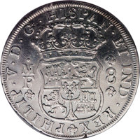 """Mexico: Philip V 8 Reales 1733-Mo MF, KM-103, in NCS slab as """"genuine"""" but cleaned, VF or so, all the details..."""