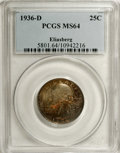 Washington Quarters: , 1936-D 25C MS64 PCGS. Remarkable deep orange-red and sea-greentoning ensures the beauty of this well preserved and low min...