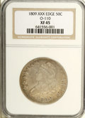 Bust Half Dollars: , 1809 50C XXX Edge XF45 NGC. O-110, R.4. The combination of a scarcevariety and an unusual edge type equals a coin of excep...