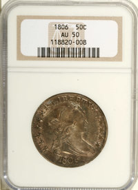 1806 50C Pointed 6, Stem AU50 NGC. O-121, R.4. The bases of AME virtually touch, while the left side of the obverse has...