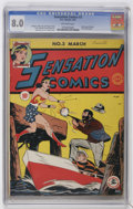 Golden Age (1938-1955):Superhero, Sensation Comics #3 (DC, 1942) CGC VF 8.0 Off-white pages. Etta Candy's second appearance sees the plus-size gal receive a m...