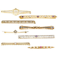 Diamond, Multi-Stone, Freshwater Cultured Pearl, Seed Pearl, Platinum-Topped Gold, Gold Brooches