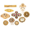 Estate Jewelry:Brooches - Pins, Victorian Multi-Stone, Enamel, Gold, Yellow Metal Brooches. . ...(Total: 10 Items)