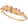 Estate Jewelry:Bracelets, Synthetic Ruby, Gold Bracelet. . ...