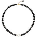 Estate Jewelry:Necklaces, South Sea Cultured Pearl, Black Onyx, Diamond, Gold Necklace. . ...