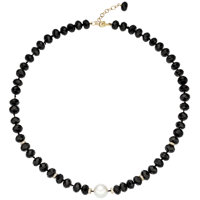 South Sea Cultured Pearl, Black Onyx, Diamond, Gold Necklace