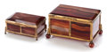 Decorative Arts, Continental, Two Agate Lidded Boxes, 20th century. 2-1/4 x 4 x 2-1/2 inches (5.7x 10.2 x 6.4 cm) (larger). ... (Total: 2 Items)