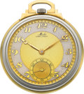 Timepieces:Pocket (post 1900), Mido Two Tone Gold Art Deco Pocket Watch. ...