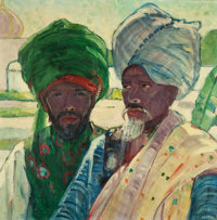 HELENA ADELE DUNLAP (American, 1876-1955) Men of Agra, circa 1920-1922 Oil on canvas 26 x 36 inch