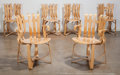 Furniture , Frank Gehry (Canadian/American, b. 1929). Hat Trick Dining Set, 1992, Knoll Corp.. Laminated maple. 33 x 22-3/4 x 19-3/4... (Total: 6 Items)
