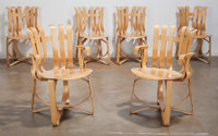 Frank Gehry (Canadian/American, b. 1929) Hat Trick Dining Set, 1992, Knoll Corp. Laminated maple