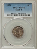 Bust Dimes: , 1834 10C Small 4 MS62 PCGS. PCGS Population: (19/59). NGC Census:(32/97). Mintage 635,000. ...