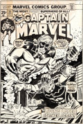 Original Comic Art:Covers, Ron Wilson and Frank Giacoia Captain Marvel #35 Cover Original Art (Marvel, 1974)....