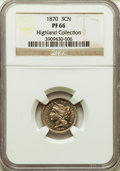 Proof Three Cent Nickels, 1870 3CN PR66 NGC. NGC Census: (18/0). EX: Highland Collection. PCGS Population: (14/0). Mintage 1,000....