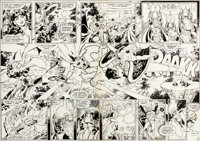George Perez and Romeo Tanghal New Teen Titans #4 Double Page Spread 2-3 Justice League of America Original Art (D... (T...
