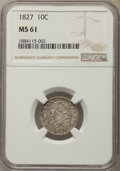 Bust Dimes, 1827 10C Pointed Top 1, JR-7, R.3, MS61 NGC....