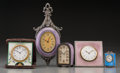 Clocks & Mechanical, Five Enameled Silver and Gilt Bronze-Mounted Desk Clocks, early 20th century. Marks: (various). 7-1/2 inches high (19.1 cm) ... (Total: 5 Items)