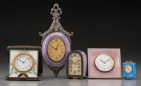 Five Enameled Silver and Gilt Bronze-Mounted Desk Clocks, early 20th century Marks: (various) 7-1/2 inches high