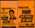 "Movie Posters:Rock and Roll, Bobby Vee and His Band and Show & Others Lot (America's Best Attractions, 1960s). Concert Window Cards (2) (14"" X 22"") & Per... (Total: 3 Items)"