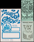 """Movie Posters:Musical, Tiny Tim and the Flock & Other Lot (1969). Concert Handbills (2) (Approx. 8.5"""" X 14"""") DS & Concert Window Card (14.25"""" X 22.... (Total: 3 Items)"""