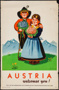 "Movie Posters:Miscellaneous, Austria Welcomes You (1948). Travel Poster (25"" X 37.5""). Miscellaneous.. ..."