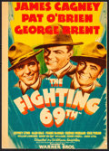 "Movie Posters:War, The Fighting 69th (Warner Brothers, 1940). Trimmed Linen FinishMidget Window Card (7.5"" X 10.75""). War.. ..."