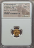 Ancients:Byzantine, Ancients: Heraclius (AD 613-641), with Heraclius Constantine. AVsolidus (4.44 gm). NGC XF 5/5 - 5/5....
