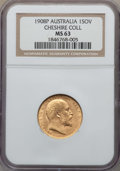 Australia, Australia: Edward VII gold Sovereign 1908-P MS63 NGC,...