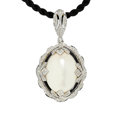 Estate Jewelry:Necklaces, Moonstone, Diamond, Enamel, White Gold, Sterling Silver, CordPendant-Necklace. ...