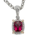 Estate Jewelry:Necklaces, Rubellite Tourmaline, Diamond, White Gold Pendant-Necklace, Charles Krypell. ...