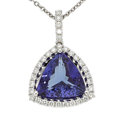 Estate Jewelry:Necklaces, Tanzanite, Diamond, White Gold Pendant-Necklace. ...