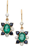 Estate Jewelry:Earrings, Emerald, Sapphire, Diamond, Gold Earrings. ... (Total: 2 Items)