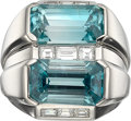 Estate Jewelry:Rings, Blue Zircon, Diamond, Platinum Ring. ...