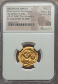 Ancients:Byzantine, Ancients: Heraclius (AD 613-641), with Heraclius Constantine (AD613-641). AV solidus (4.46 gm). NGC MS 5/5 - 4/5....