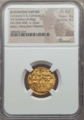 Ancients:Byzantine, Ancients: Constans II Pogonatus (AD 654-668), with Constantine IV.AV solidus (4.46 gm). NGC Choice AU 4/5 - 4/5....
