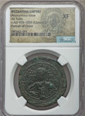 Ancients:Byzantine, Ancients: Anonymous, time attributed to Basil II (AD 976-1035). Æfollis. NGC XF....