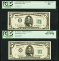 Small Size:Federal Reserve Notes, Fr. 1963-B* $5 1950B Federal Reserve Star Notes. Two Examples. PCGS Choice New 63PPQ-Very Choice New 64.. ... (Total: 2 notes)