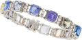 Estate Jewelry:Bracelets, Art Deco Sapphire, Zircon, Diamond, Platinum Bracelet, J.E.Caldwell & Co. for Bailey, Banks & Biddle. ...