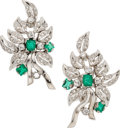 Estate Jewelry:Earrings, Emerald, Diamond, White Gold Earrings. ... (Total: 2 Items)