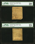 Colonial Notes:Pennsylvania, Pennsylvania April 10, 1777 Notes PMG Graded.. ... (Total: 2 notes)