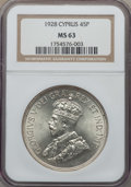 Cyprus:British Colony, Cyprus: British Colony. George V 45 Piastres 1928 MS63 NGC,...