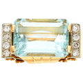 Estate Jewelry:Rings, Retro Aquamarine, Diamond, Platinum, Gold Ring. ...