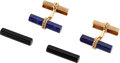 Estate Jewelry:Cufflinks, Lapis Lazuli, Black Onyx, Gold Cuff Links, Marchak, French. ... (Total: 4 Pieces)