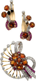 Estate Jewelry:Suites, Retro Citrine, Diamond, Ruby, Gold Jewelry Suite. ... (Total: 3Pieces)
