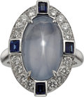Estate Jewelry:Rings, Star Sapphire, Diamond, Sapphire, White Gold Ring. ...