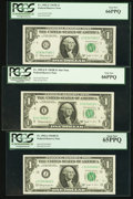 Complete District Set Fr. 1902-B-L $1 1963B Federal Reserve Notes. Five Examples. PCGS Choice New 63-Gem New 66PPQ; Fr...
