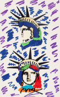 Fine Art - Work on Paper:Drawing, Peter Max (American, b. 1937). Liberty Heads. Marker onpaper. 21-1/4 x 13-1/4 inches (54.0 x 33.7 cm) (sight). Signed l...