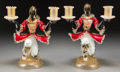 Decorative Arts, Continental, A Pair of Murano Glass Two-Light Blackamoor Coachmen Candelabra,mid-20th century. 11-1/2 inches high (29.2 cm). PROPERTY ...(Total: 2 Items)
